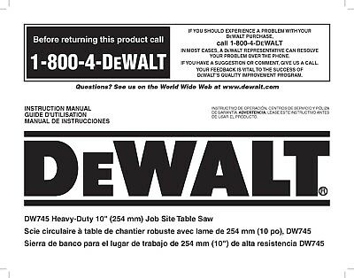 Dewalt Table Saw  Instruction Manual Model #DW745