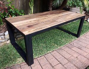Industrial rustic dining table Elanora Heights Pittwater Area Preview
