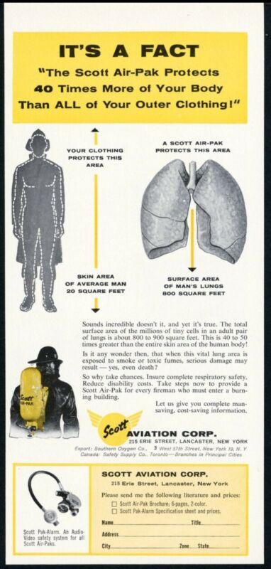 1961 Scott Air Pak fireman breathing apparatus lungs art vintage trade print ad
