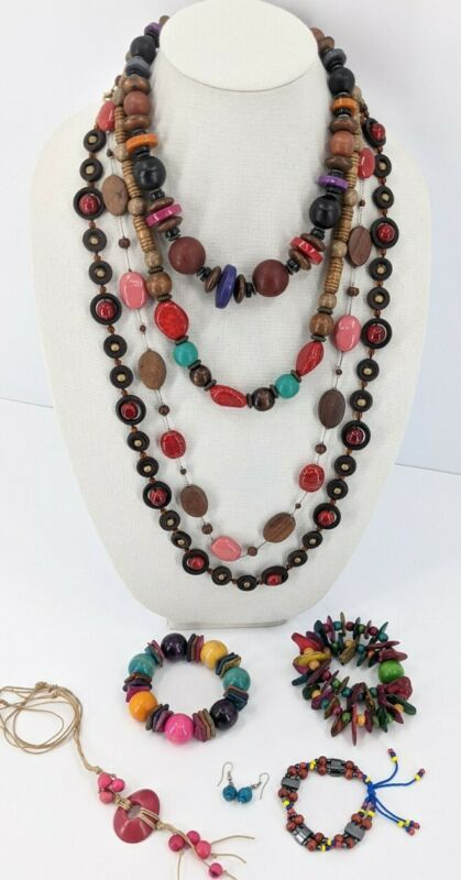 Colorful Jewelry Lot Chunky Glass Lucite Shell Wood Necklace Bracelet Earrings