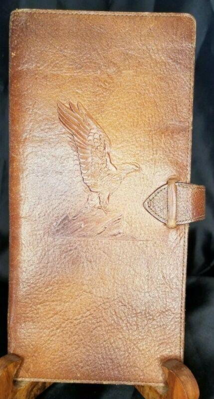 1942 Brown Leather Eagle Business Checkbook/ledger cover vintage old
