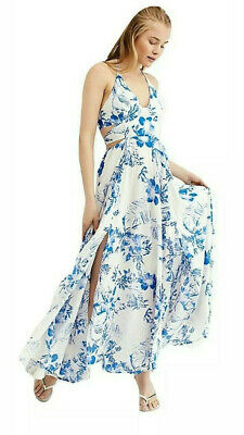 """NWT Free People """" Lille Print""""  Maxi Dress Large Ivory Blue MSRP$128"""
