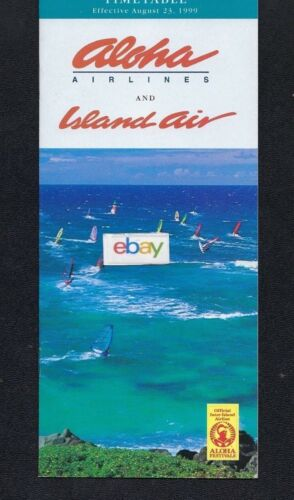 ALOHA AIRLINES & ISLAND AIR SYSTEM TIMETABLE 8-23,1999 WIND SURFING COVER-MIDWAY