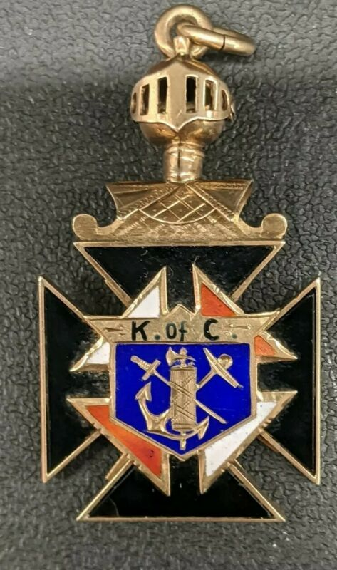 10K  ENAMEL KNIGHTS OF COLUMBUS PENDANT 8.0 GRAMS 1 5/8inches X 7/8 !NICE !!!!!!