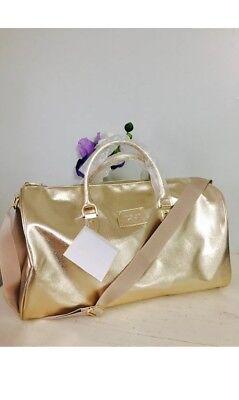 MICHAEL KORS gold duffle leather travel gym weekender overnight shoulder Bag