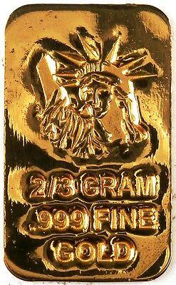 GOLD 2/3 GRAM 24K PURE GOLD BULLION BAR 999 FINE PURE GOLD H2d
