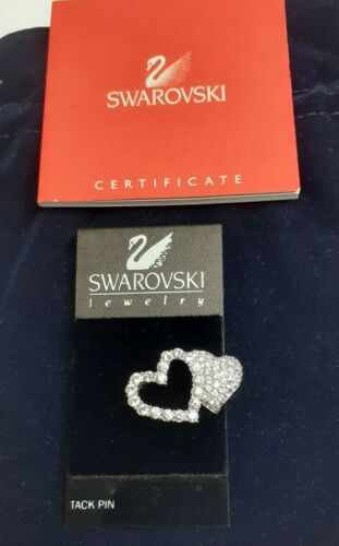 Swarovski Crystal Jewelry Double Heart Brooch Tack Pin with Pouch COA