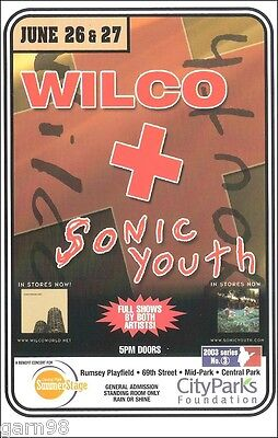 Wilco Sonic Youth Concert Handbill Mini Poster Central Park NYC