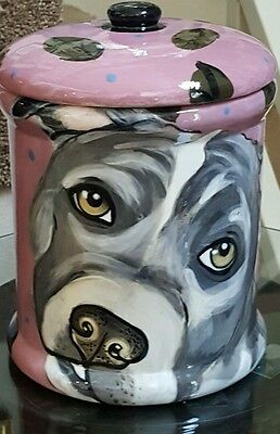Custom Ceramic DOG TREAT pit bull Cookie Jar pit bull urn any BREED large