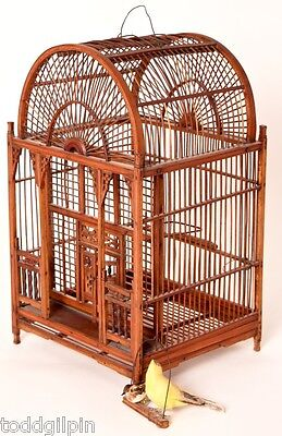 """Antique Chinese Birdcage, 19th to Early 20th C., Hand Carved, 10.5W x 10D x 18""""H"""