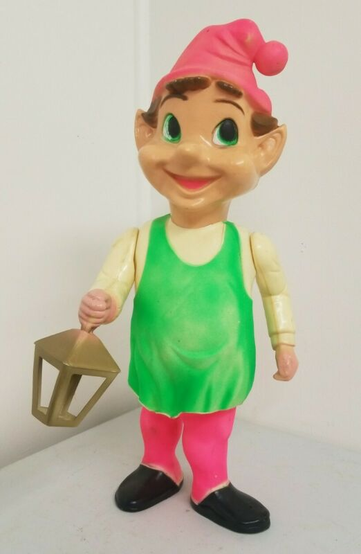 "50s-60's Vintage 22"" Union Blow Mold Hard Plastic Jointed CHRISTMAS ELF Light"