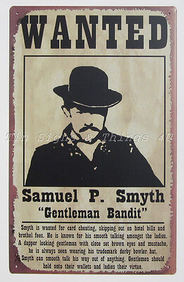 Sam Smyth Bandit Wanted Poster TIN SIGN metal western funny bar wall decor OHW - Western Wanted Sign