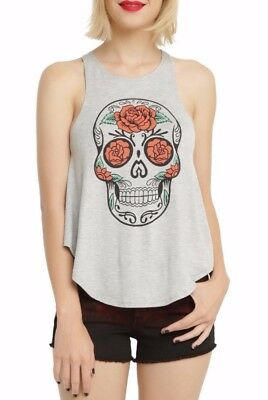 Day Of The Dead ROSE SKULL Sugar Skull Girls Women's T-Shirt Tank Top NEW - Dead Rose