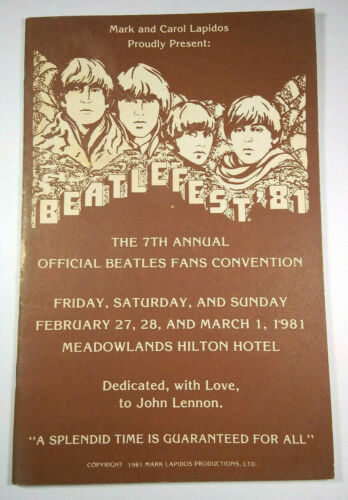 Beatlefest 81 7th Annual Official Beatles Fan Convention 1981 Meadowlands Hilton