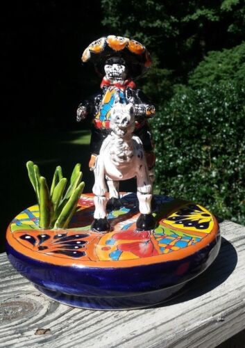 El Mariachi Talavera Painted Statue Day of the Dead Mexican 7x7x7 A08
