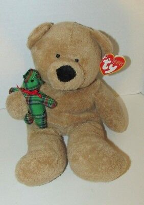 2005 Ty Pluffies tan Bear Beary Merry plush holding green plaid teddy Baby toy