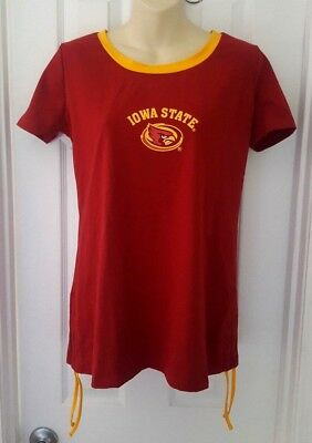 IOWA STATE CYCLONES Womens Top Size Large Tee Red Gold Ties Stretchy Soft Klew