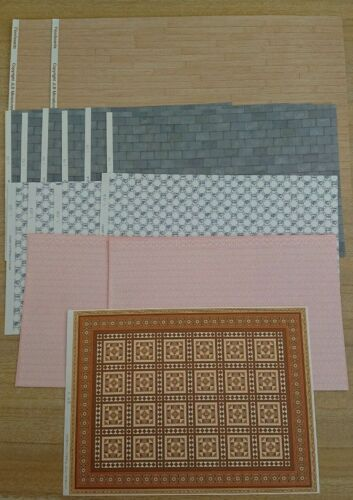 15 sheets of 24th scale assorted wall/roof & floor papers. Worth £23.00.