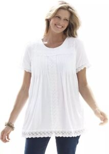 Woman Within White Lace Trim Babydoll Tunic 1X 22/24 Plus Size Comfort Top NEW