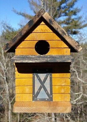 Solid Wood Cedar Bird House Log Cabin Look Rustic Barn Door