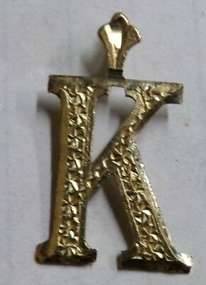 "10k Yellow Gold "" K "" Pendant Twirly Bird Center Block Letter K Name 7/8"" .7g"