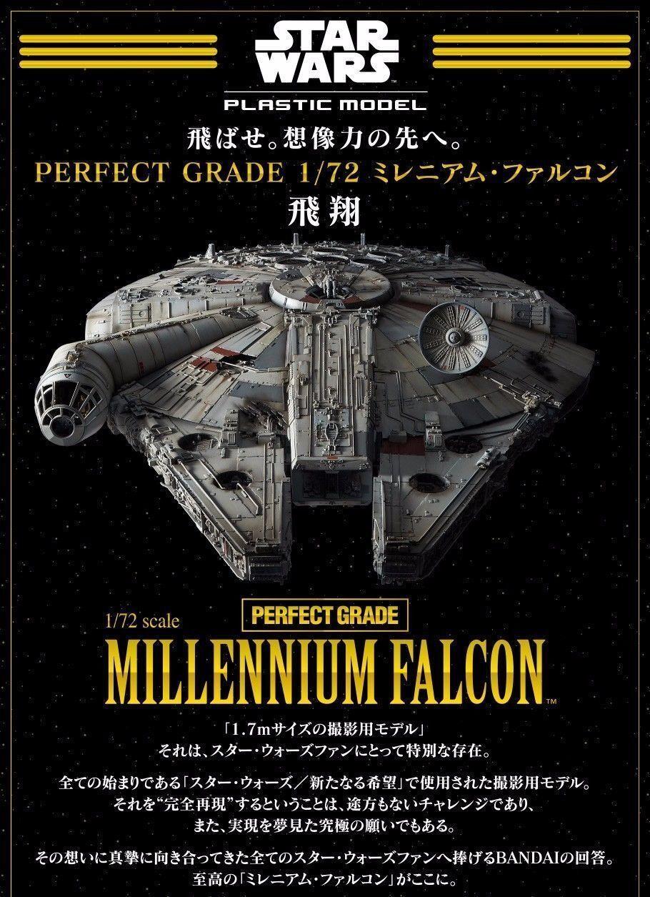 BANDAI 216384 Perfect Grade 1/72 Star Wars A New Hope Millennium Falcon KIT- NEW