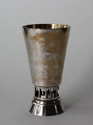 Vintage Silver Plate Kiddush Kidish Jewish Judaica  Wine Cup Gold Wash Inside