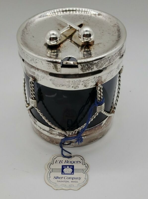 F.B Rogers Silver Co. Drum Jelly Jar -  great for Christmas party serving w/tag