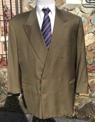 Canali Men's Double Breasted Sports Coat Loro Piana Tasmanian Wool Green 46 R