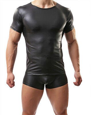 Men's sexy leather elasticity swimwear fitness clothes