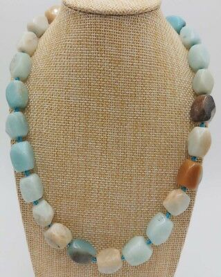 (Handmade 10-16mm Natural Amazonite Rectangle Beaded Necklace Jewelry)