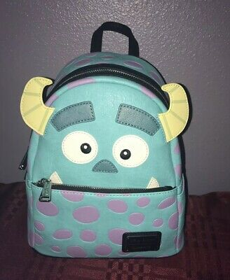 Loungefly Disney Monsters Inc Sully Face Faux Leather Mini Backpack NEW
