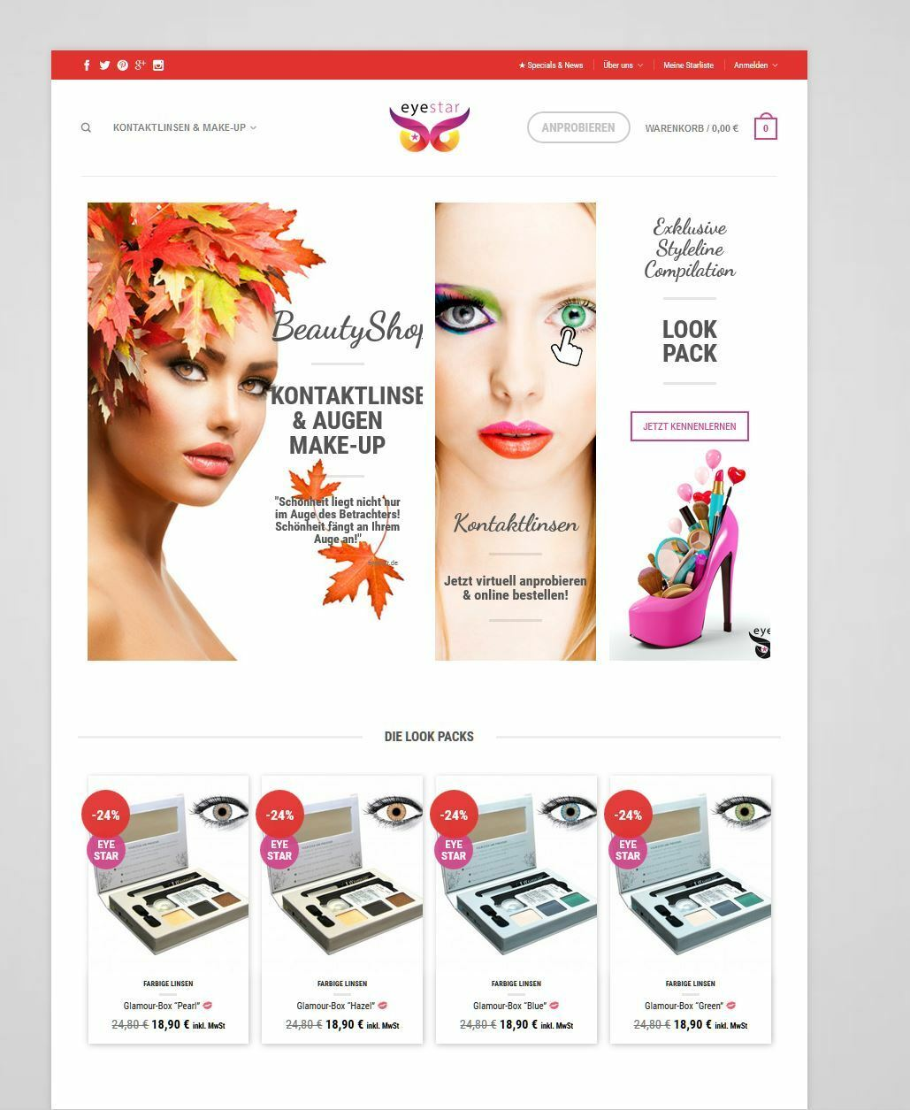 Onlineshop für Kontaktlinsen in eiunem Super Design, Preiswert abzugeben