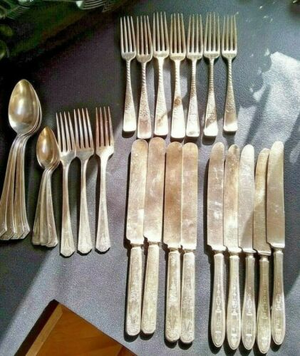 Antique? Vintage 27 Piece Mix Lot Reed & Barton + Rogers Silverplate Silverware