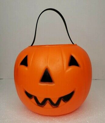 Vtg Empire Halloween Blow Mold Pumpkin Jack-O-Lantern Bucket 1980 Trick-or-Treat