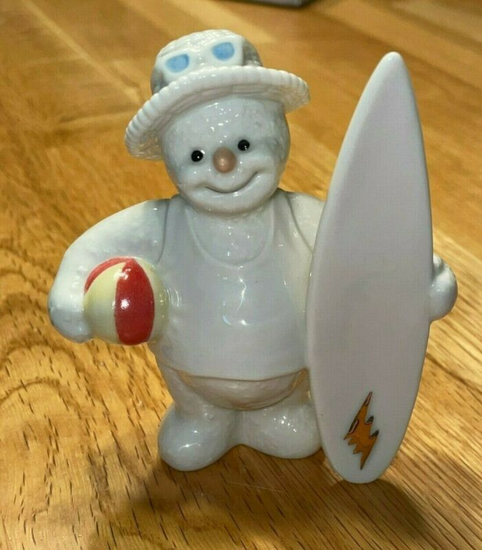 PRE OWNED: 2000 Lenox Summer Snowman Figurine with Surfboard and Beach Ball
