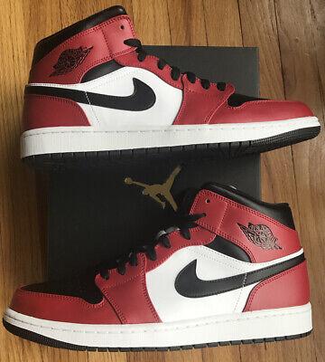 Nike Air Jordan 1 Mid Chicago Toe 554724-069 US Men's Size 13 New W/Receipt