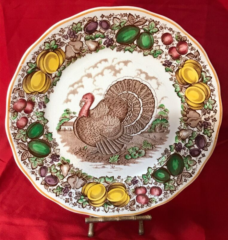 Vintage Fall Turkey Barker Bros Dinner Plates England For WEIL CERAMICS & GLASS