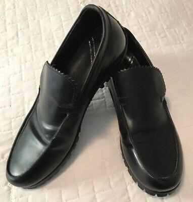 New Bruno Bordese Black Leather Driving Mocassin Shoe Vibram Sole Mens 9 Medium