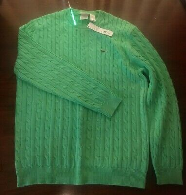 Lacoste Cable Sweater Lime Green 100% Cotton Size Medium