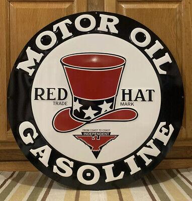 Red Hat Motor Oil Gasoline Metal Sign Garage Vintage Style Wall Decor Bar Pub
