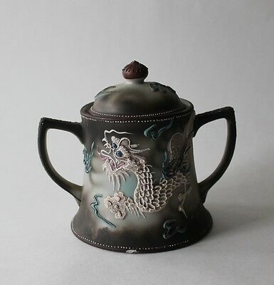 Vintage Hand Painted Japanese Moriage Dragonware Sugar Bowl with Lid