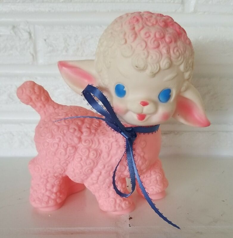 """Vintage 1955 PINK Squeaky Lamb Toy The Sun Rubber Co 6"""" figure lot # 2"""