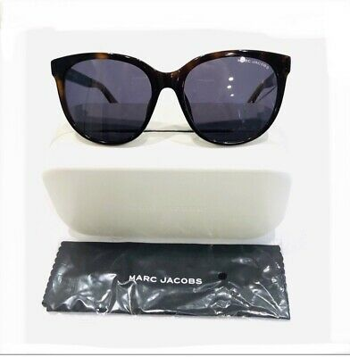 Marc Jacobs Women's Cat Eye Glitter Arms SUNGLASSES & Hard Case~Brown/Gold~NWT