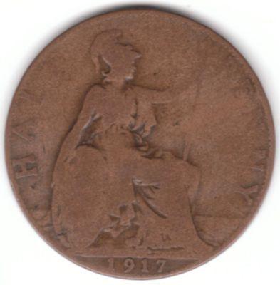 United Kingdom 1/2d Half-Penny 1917 Bronze Coin - Britannia