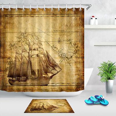 Vintage Pirate Ship Map Waterproof Fabric Bathroom Mat Shower Curtain Liner 72