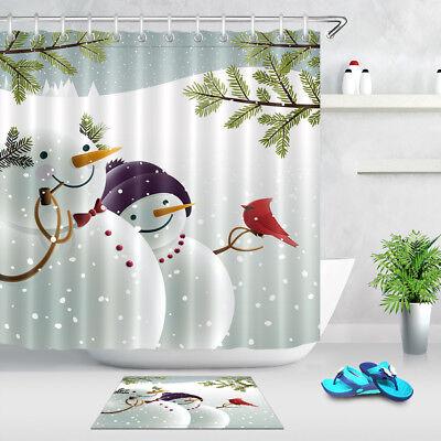 Winter Snow Snowmen Birds Bathroom Set Polyester Fabric Shower Curtain Hooks 72
