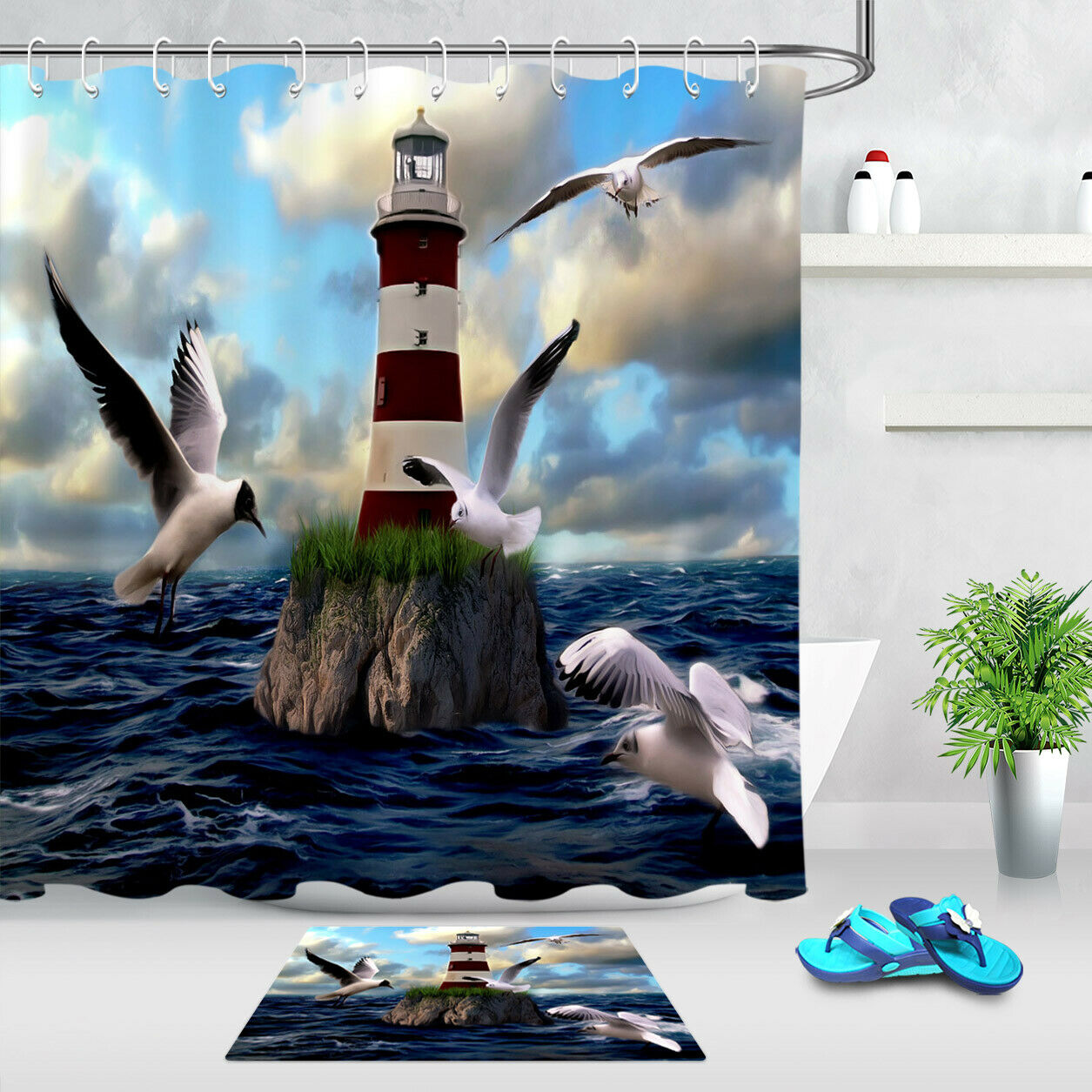 100/% Polyester Fabric Seagulls on the Sea Shore Shower Curtain Animal Bath Mat
