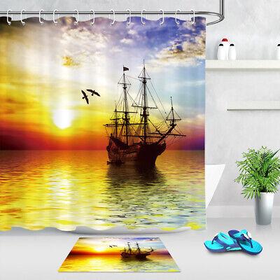 Sunrise Ocean Pirate Ship Shower Curtain Set Bathroom Waterproof Fabric Hooks - Pirate Shower Curtain