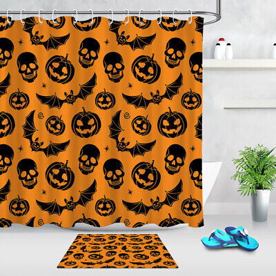 Orange Background Halloween Black Pumpkin Skull Bats Fabric Shower Curtain Set](Orange Halloween Background)